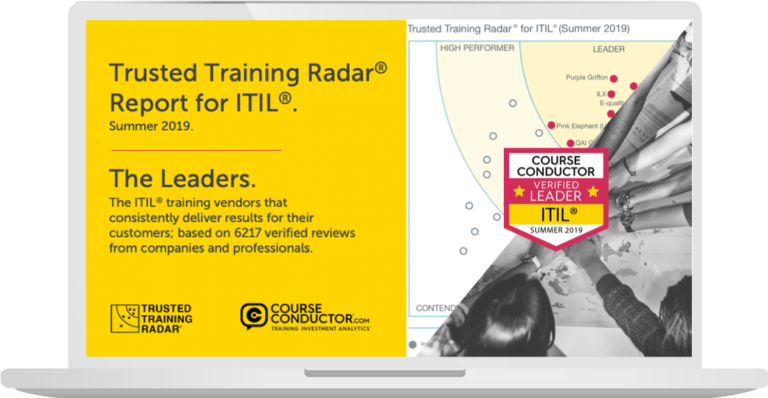 Laptop and Radar visualisation illustrating the 12 best ITIL training vendors based on 6217 customer reviews.